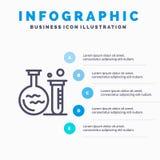 Rohr, Flasche, Labor, Ausbildungs-Linie Ikone mit Hintergrund infographics Darstellung mit 5 Schritten vektor abbildung