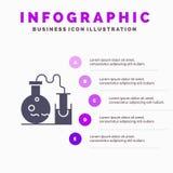 Rohr, Flasche, Labor, Schritt-Darstellungs-Hintergrund Wissenschafts-fester Ikone Infographics 5 lizenzfreie abbildung