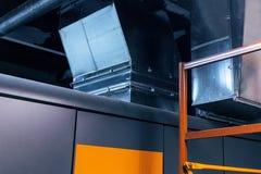 Rohr, Kanalisierung, Belüftung, Klimaanlage, industriell, modern, metallisch stockbild