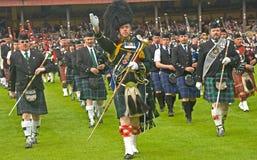 Rohr-Major, der das Band führt. Stockbild