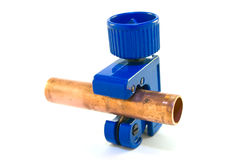 Rohr-Scherblock mit Rohr Lizenzfreie Stockfotografie