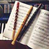 Rohre, Anmerkungen und Klavier Lizenzfreie Stockbilder