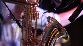 Rohre in den Händen von Musikern Musiker, die Blasinstrumente spielen stock video
