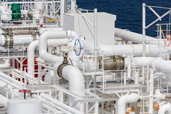 Rohre von LNG-Schiff lizenzfreies stockbild