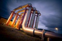 Rohrleitung der geothermischen Energie lizenzfreie stockfotografie