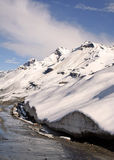 Rohtang pass  himalayan mountain route under many feet of snow. Snow covered mountain ranges in Indian Himalayas at Roahtang Pass t Stock Image