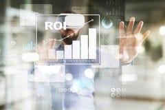 ROI、回收投资事务和技术概念 虚屏背景 库存图片