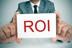 ROI、首字母缩略词利率的或回收投资 库存图片