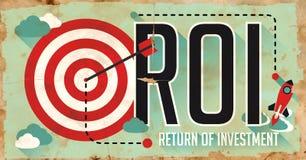 ROI概念。在平的设计的海报。 免版税库存图片