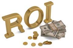 ROI και δολάριο που απομονώνονται στην άσπρη τρισδιάστατη απεικόνιση υποβάθρου διανυσματική απεικόνιση