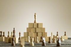 Roi blanc sur les blocs constitutifs en bois Photographie stock