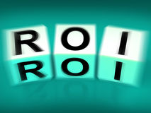 ROI Blocks Displays Financial Return on Investment Royalty Free Stock Photography