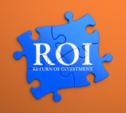 ROI on Blue Puzzle Pieces. Business Concept. Royalty Free Stock Photography