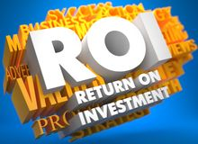 ROI. Business Concept. ROI - Return on Investment. The Words in White Color on Cloud of Yellow Words on Blue Background Royalty Free Stock Image