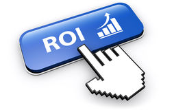 Roi Business Investment Concept. Business investment concept with ROI sign and growing graph icon on a blue web button 3D illustration Stock Photo