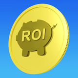 ROI Coin Shows Financial Return For Investors. ROI Coin Showing Financial Return For Investors Royalty Free Stock Photo