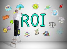 Roi concept drawn by a man on a ladder. Man on a ladder drawing roi concept on a wall stock illustration