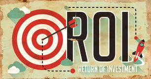 ROI Concept. Grunge Poster in Flat Design. Royalty Free Stock Photo