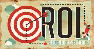 ROI Concept. Grungeaffisch i plan design. Royaltyfri Foto