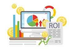 ROI concept illustration. Computer with data and infographics Royalty Free Stock Photography