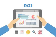ROI concept illustration. Idea of marketing and investment stock illustration