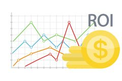 ROI concept illustration. Data chart with golden coins Stock Images