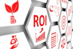 ROI concept. Cell blurred background 3d illustration royalty free illustration