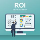 ROI concept vector. ROI concept. Return on investment. ROI business marketing. Profit income. Businessman managing financial chart. Vector illustration flat Royalty Free Stock Images