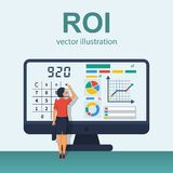 ROI concept vector. ROI concept. Return on investment. ROI business marketing. Profit income. Businesswoman managing financial chart. Vector illustration flat Stock Photography