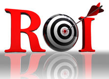 Roi conceptual target. Roi red word with conceptual target and arrow on white background clipping path included Royalty Free Stock Photo