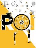 ROI creativo del concepto de la palabra y gente que hacen cosas stock de ilustración