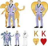 Roi d'homme caucasien attirant de coeurs avec des corps Image stock