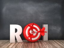 ROI 3D Word with Target on Chalkboard Background. High Quality 3D Rendering vector illustration