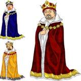 Roi de dessin animé de vecteur dans trois couleurs Photos libres de droits