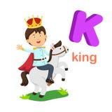 Roi de la lettre K d'alphabet d'isolement par illustration illustration de vecteur