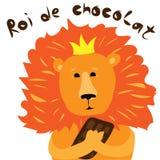 Roi de lion avec une grande illustration de vecteur de barre de chocolat pour une carte de voeux illustration libre de droits