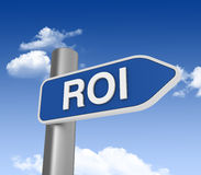 ROI Directional Sign. Three dimensional illustration of Directional Sign with ROI word Stock Photos
