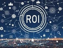 ROI with downtown LA. ROI with downtown Los Angeles at night stock illustration