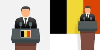 Roi et drapeau de la Belgique illustration libre de droits