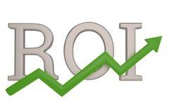 ROI et flèche verte d'isolement sur l'illustration blanche du fond 3D illustration de vecteur