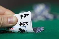 Roi et jetons de poker d'Ace Photographie stock