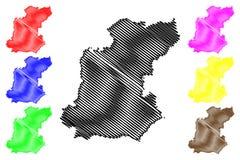 Roi Et Province map vector. Roi Et Province Kingdom of Thailand, Siam, Provinces of Thailand map vector illustration, scribble sketch Roi Et map royalty free illustration