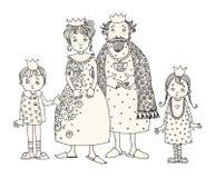 Roi et reine avec des enfants illustration libre de droits