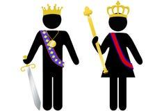 Roi et reine royaux de personne de symbole avec des têtes Images stock