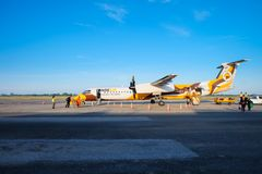 Nok Air airplane arrives at the destination of Roi Et stock images