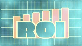 ROI grow up sticker on chart diagram. Blue ROI text on yellow chart diagram. Blueprint design ROI progress sticker. Relative for investment business. Bars vector illustration