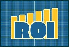 ROI grow up sticker on chart diagram Royalty Free Stock Photo