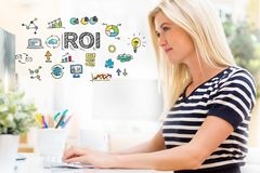 ROI with happy young woman in front of the computer Royalty Free Stock Photography