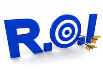 ROI Investment return. Return on investment or ROI words with o as target for 2 arrows, text in glossy blue, over white background vector illustration