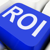 Roi Key Shows Return On Investment Or Finance Stock Images